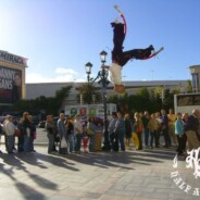 World Record: Double Backflip On Spring-Loaded Stilts