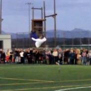 Jesus Half Animal Villa sets Guinness World Record performing 18 front flips on spring-loaded stilts